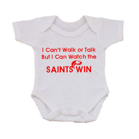 WWS02 - I Can't Walk or Talk Saints Baby Vest, example for St Helens RLFC - COYS