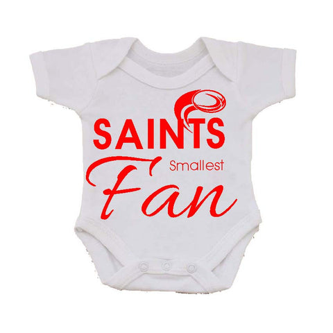 WWS05 - Saints' Smallest Fan Baby Vest, examples for St Helens RLFC - COYS