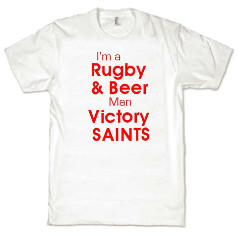 WWS08 - Rugby & Beer Victory Saints T-Shirt, example for St Helens RLFC - COYS