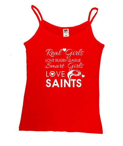 WWS14 - Real Girls Love Rugby League, Smart Girls Love Saints (St Helens RUFC) Vest - COYS