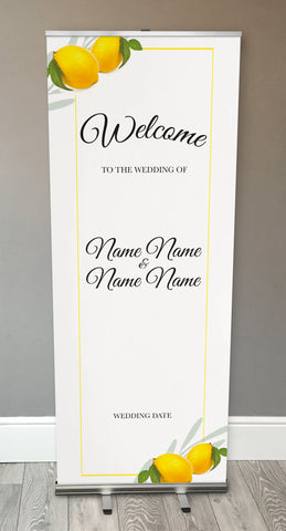 WD14 - Personalised Wedding Fresh Lemon Retractable Banner