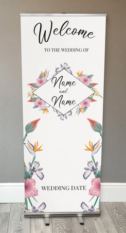WD15 - Personalised Wedding Flowers Retractable Banner