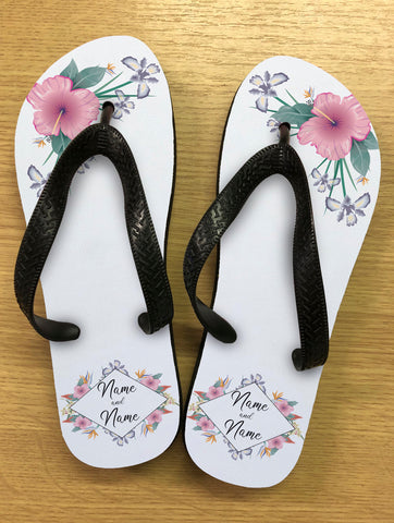 WD15 - Personalised Wedding Flowers Flip Flops