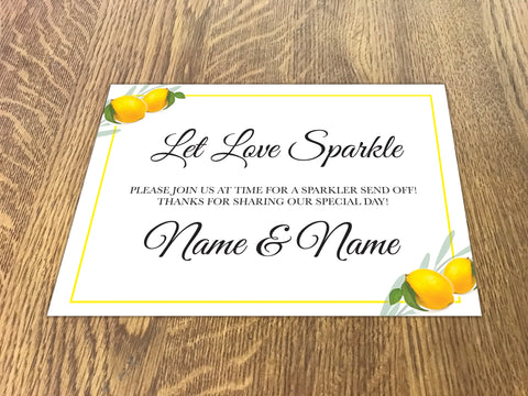 WD14 - Personalised Wedding Fresh Lemon Sparkler Send Off Sign