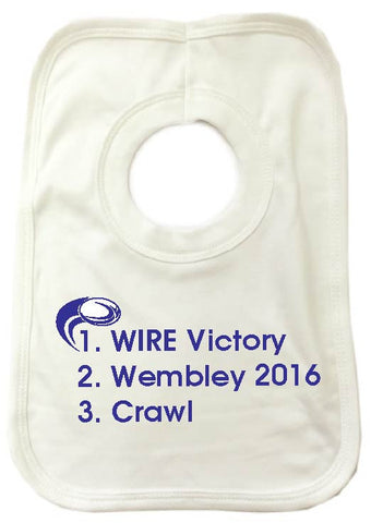 WW01 - Wire Victory Wembley (Any Venue) Personalised Baby Bib, example Warrington Wolves