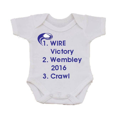 WW01 - Wire Victory (Warrington Wolves), Wembley (Any Venue or Year) Personalised Baby Vest