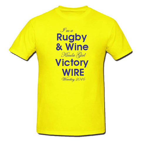 WW09 - Rugby & Wine Victory T-Shirt, example Warrington Wolves