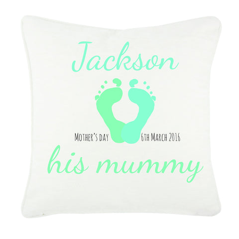 MO03G - Baby's Name and Footprint Personalised Canvas Cushion Cover