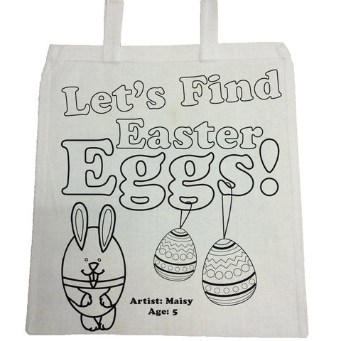 EA03 - Personalised Let's Find Easter Eggs Colouring Canvas Bag
