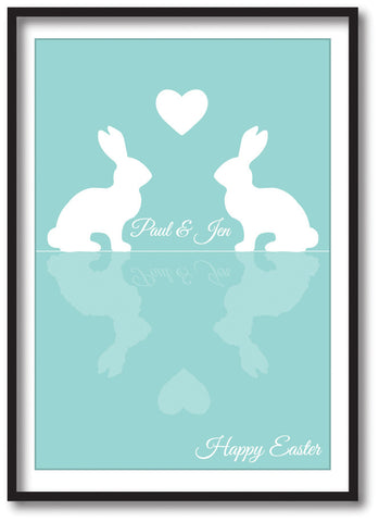 EA15 - Personalised Easter Reflecting Bunnies Print