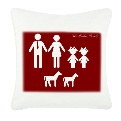 Family Name and Figures Personalised Cushion Cover