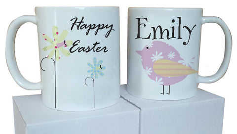 EA11 - Personalised Easter Flowers and Chick Mug & White Box