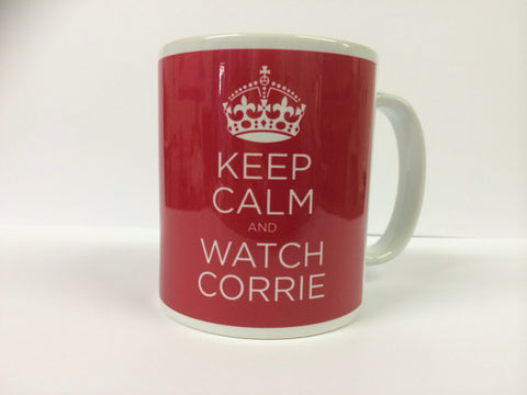 Keep Calm And Watch Corrie or any other Soap Mug & White Box