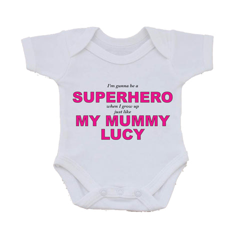BB24 - Superhero Mum Personalised Baby Vest