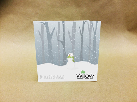 Christmas Cards for Business or Family with Lonely Snowman with Personal Message