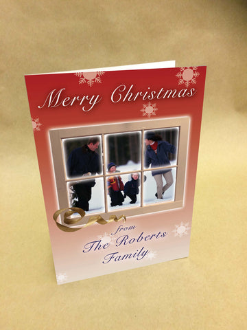 Christmas Cards for Business & Home, looking through the snowy window to your photo