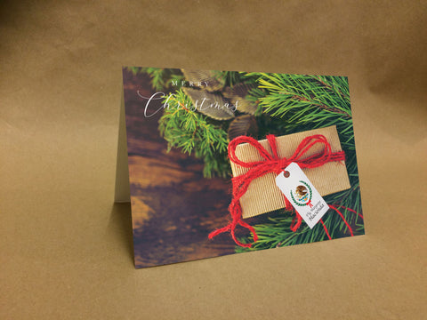 Christmas Cards for Business or Home, Tree and Present with Logo or Message