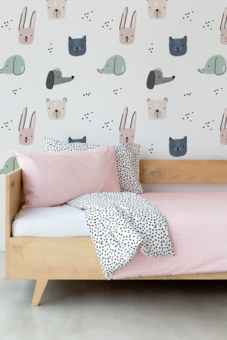 Pink Grid and Spotted Duvet