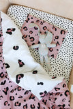 Pink and White Leopard Print Cot Duvet