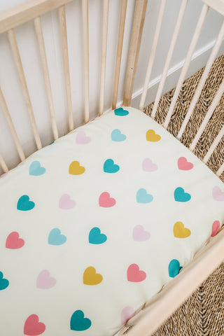 Hearts Cot Fitted Sheet