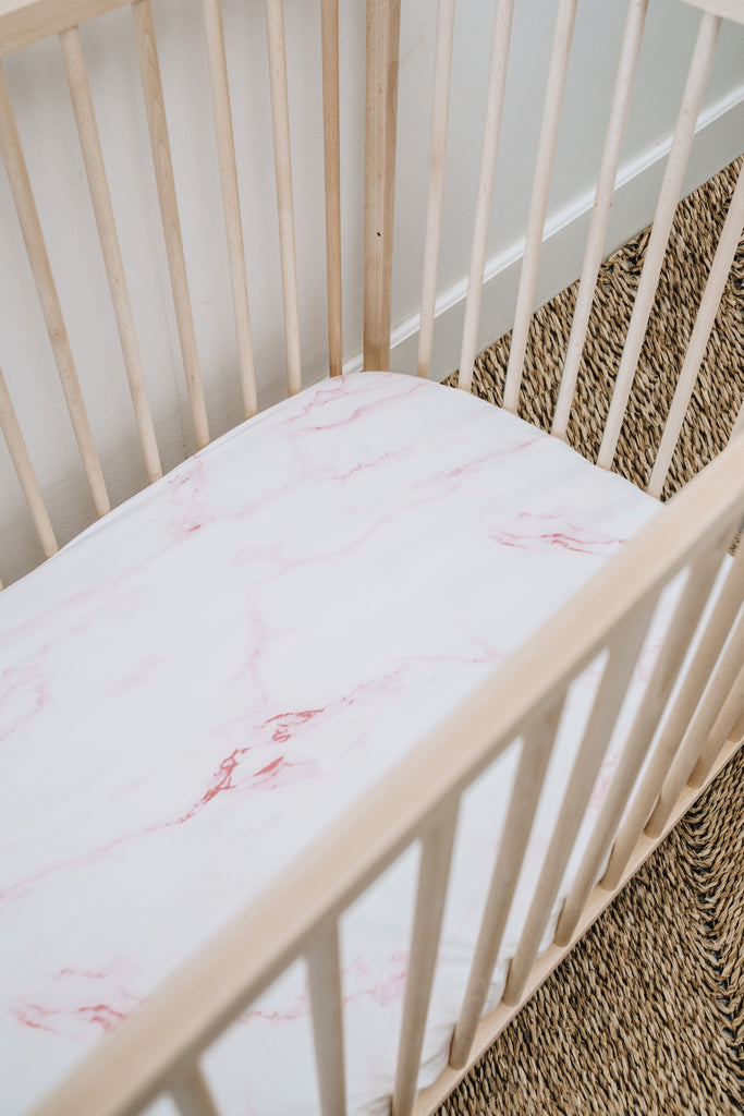 Pink Marble Cot Fitted Sheet