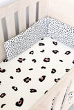 White Leopard Print Cot Fitted Sheet
