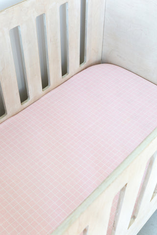 Pink Grid Cot Fitted Sheet