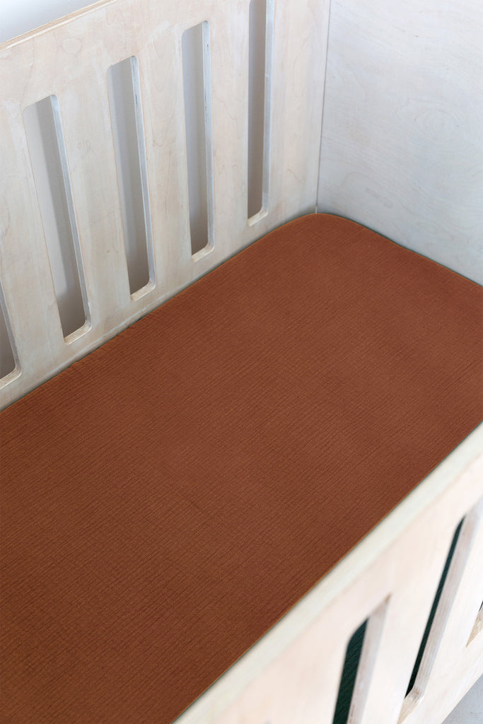 Rust Muslin Cot Fitted Sheet