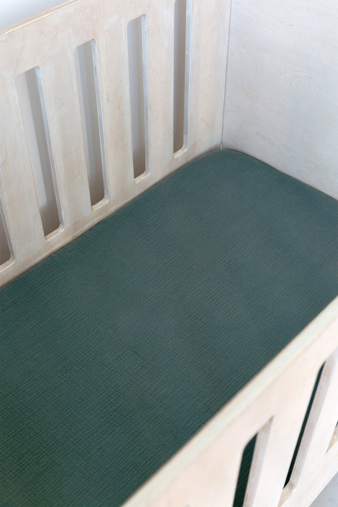 Sage Muslin Cot Fitted Sheet