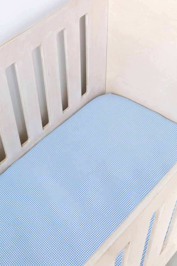 Blue Gingham Cot Fitted Sheet