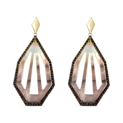 Black Diamond & Mother of Pearl Cut-Out Heptagon Earrings