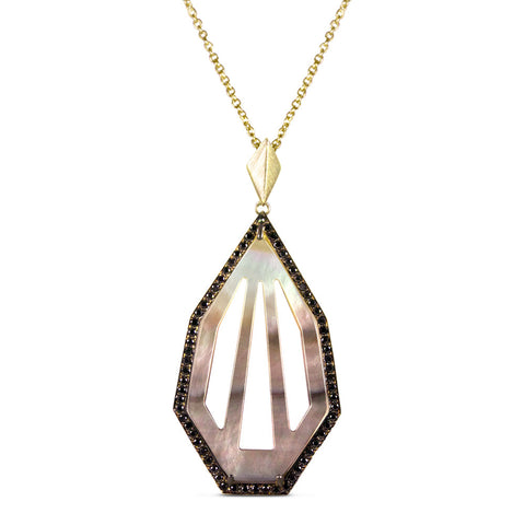 Black Diamond & Mother of Pearl Heptagon Pendant