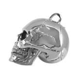 925 Sterling Silver Skull Pendant with Openable Jaw and Hidden Compartment