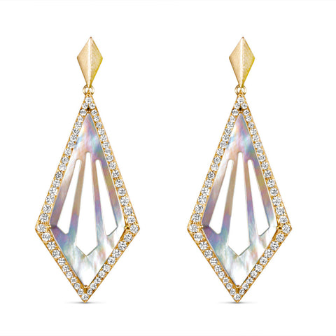 Diamond & Mother of Pearl Cut Out Kite Earrings