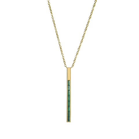 Emerald & Yellow Gold Vertical Bar Pendant