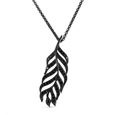 Black diamond & Sterling Silver Feather Pendant
