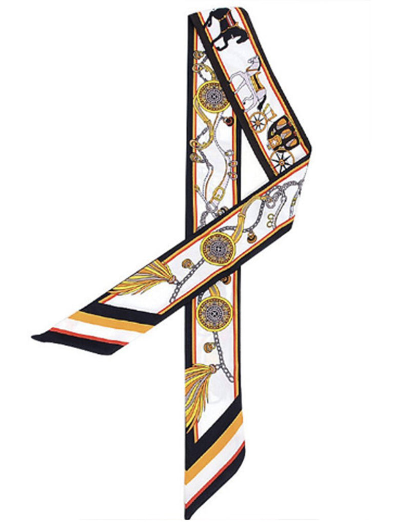 Twilly/Fashion Scarf/Scarves – Black and Golden Yellow, Horse & Carriage Print