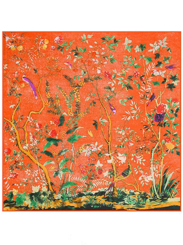Extra Large Fashion Scarf/Scarves – Orange, Birds & Flowers Print