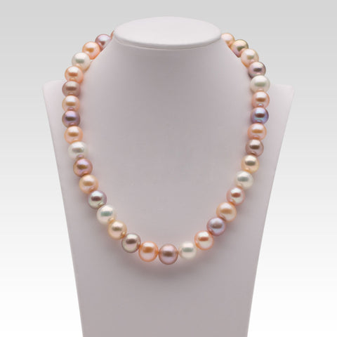11-12mm Oval Multi-coloured Freshwater Pearl Strands