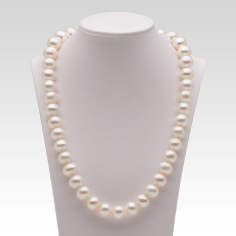 11-12mm Oval White Freshwater Pearl Strands