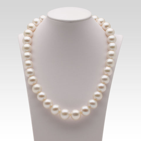 11.6-15.5mm Nucleated White Freshwater Pearl Strand