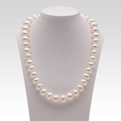 11.8-13.5mm Oval White Freshwater Pearl Strands