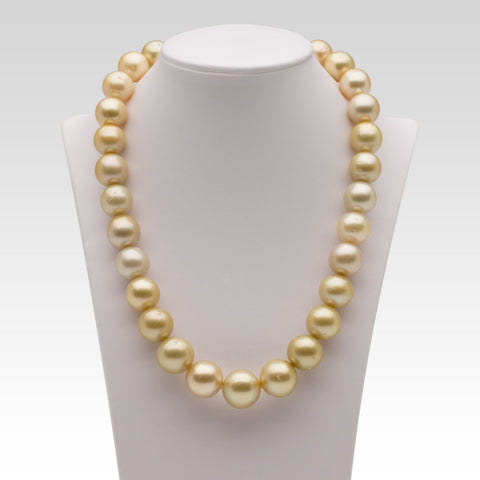 12.3-15.6mm Light Golden South Sea Pearl Strand
