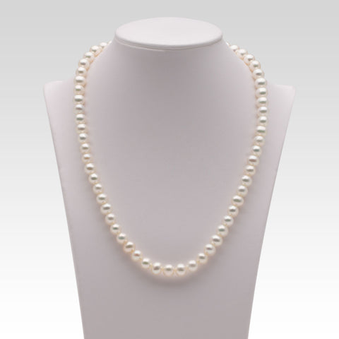 6.5-7mm Oval White Freshwater Pearl Strands
