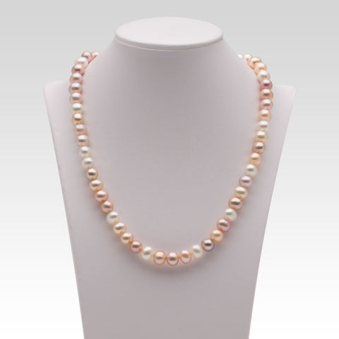 7-7.5mm Oval Multi-coloured Freshwater Pearl Strands