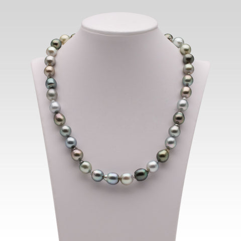 8.3-10.2mm Semi-Baroque/Oval Multi-coloured Tahitian Pearl Strand
