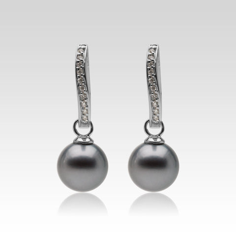 Diamond Leverback Earrings with Tahitian Pearls