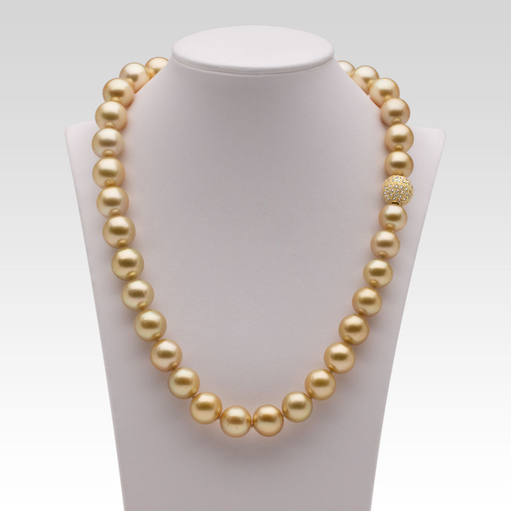 Golden South Sea Pearl Necklace With Pave Diamond And Yellow Gold Ball Clasp