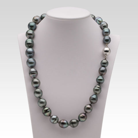 Grey Oval Tahitian Pearl Necklace with Silver Clasp