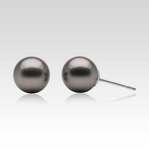 Grey Tahitian Pearl Stud Earrings in White Gold